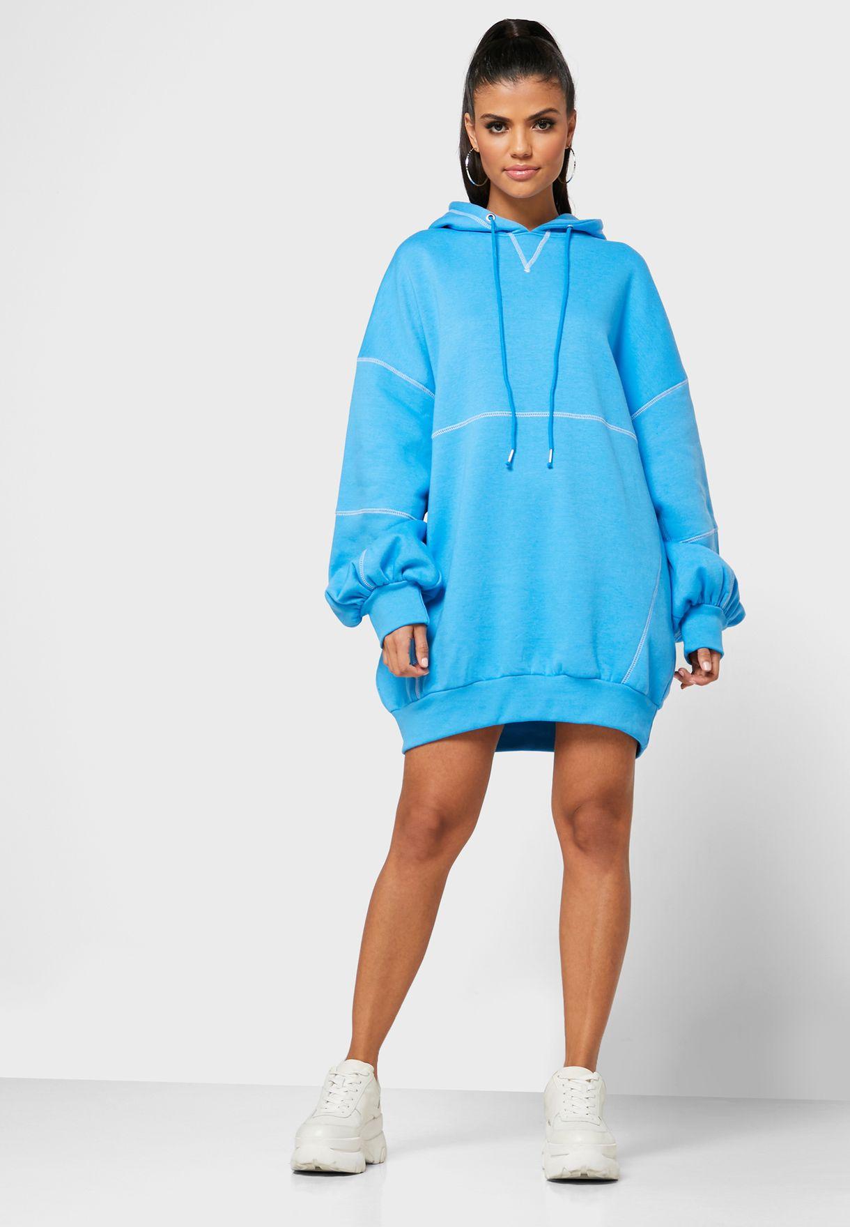 Seam Detail Hooded Sweat Dress
