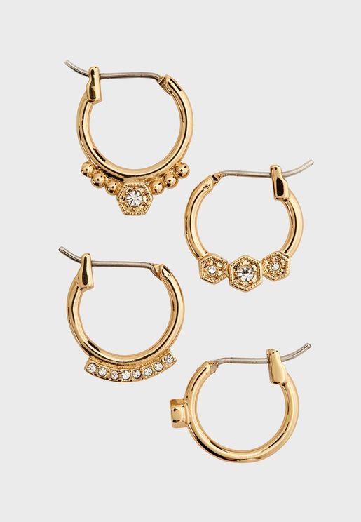 Full Bloom Hoop Earrings Set