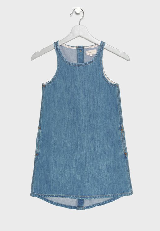 Kids High Low Denim Dress