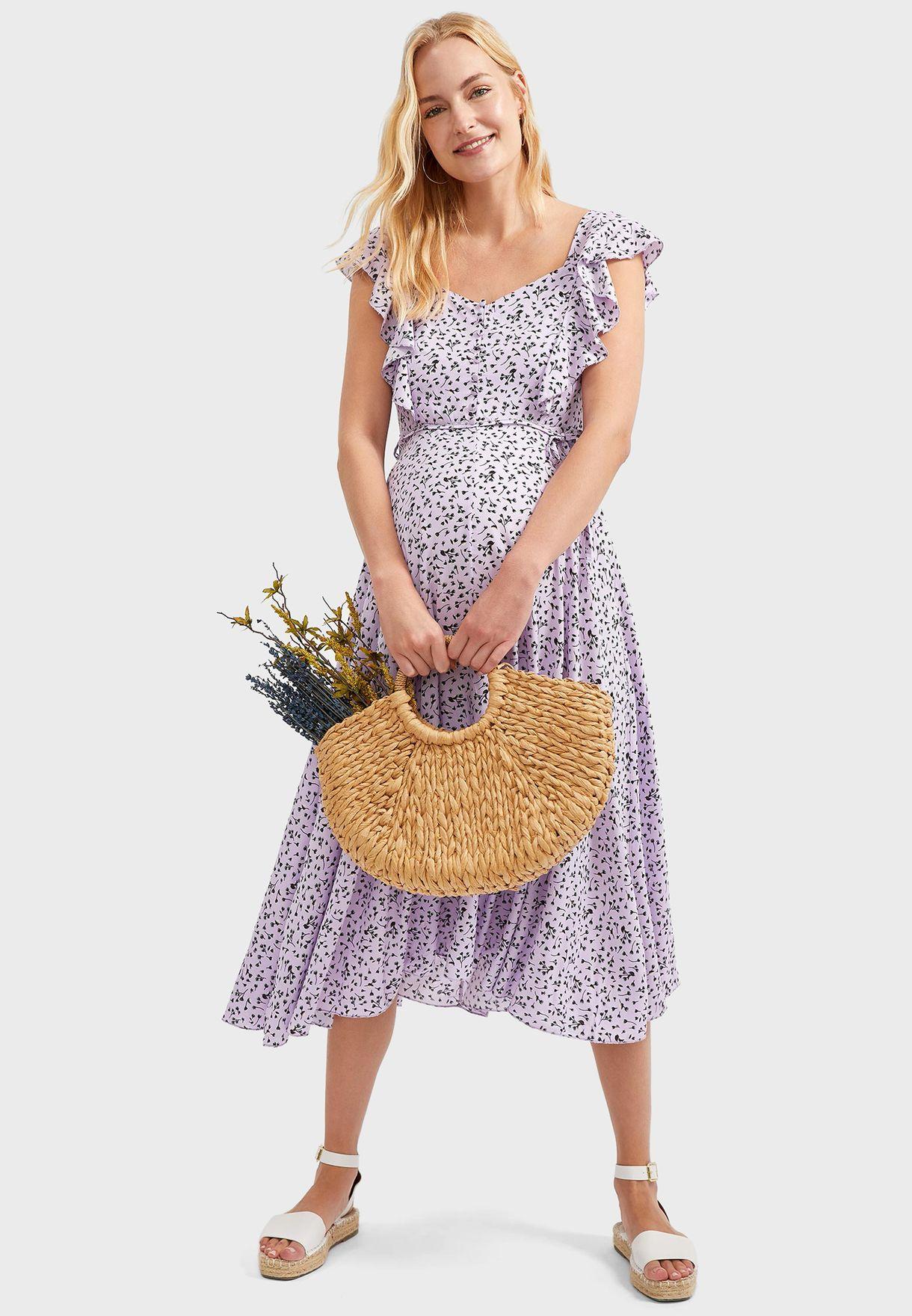 Ruffle Sleeve Printed Dress