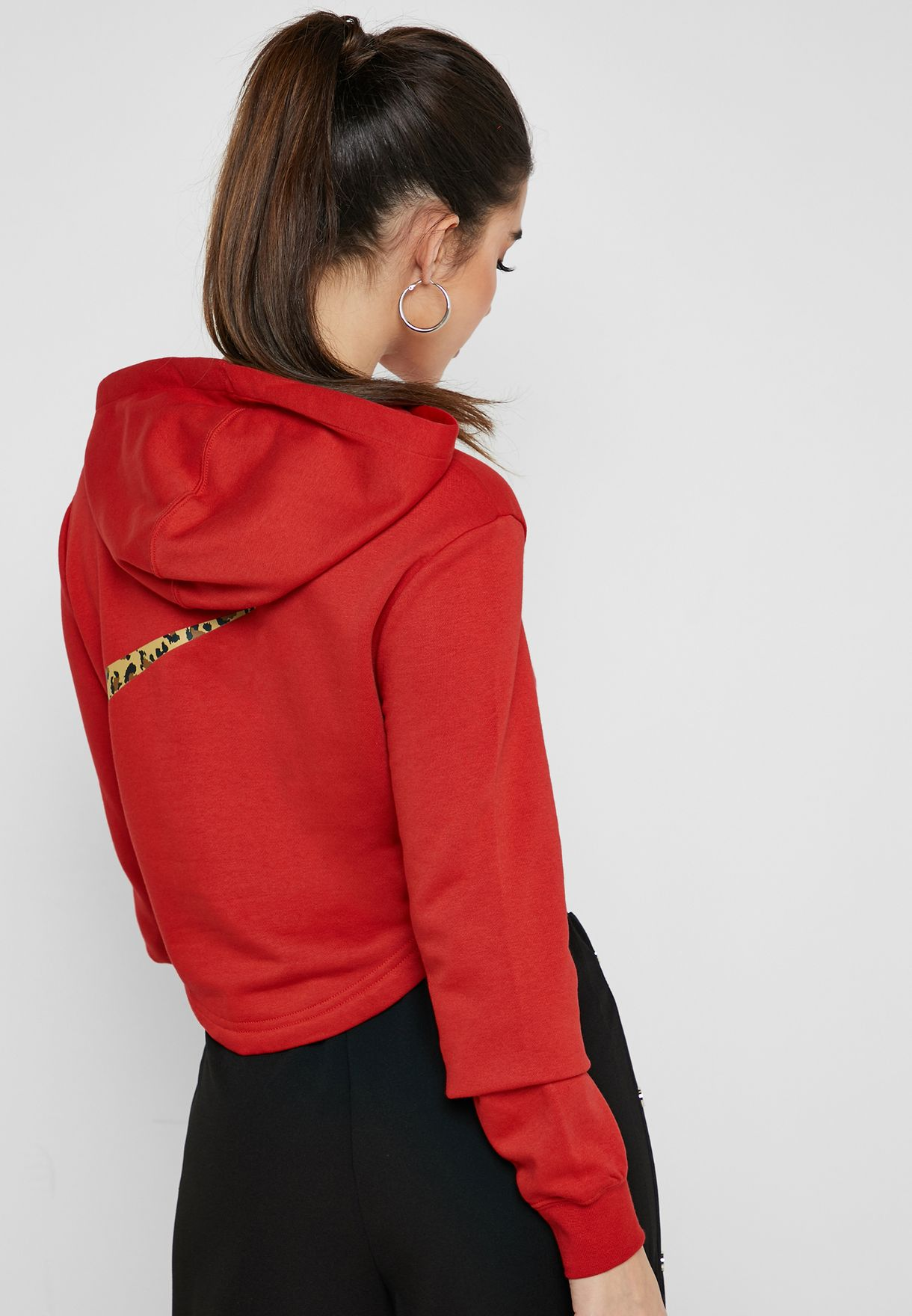 nike w nsw hoodie crop animal