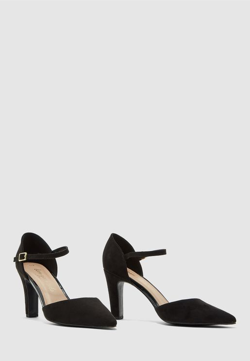 Buckle Detail Ankle Strap Pump - Black