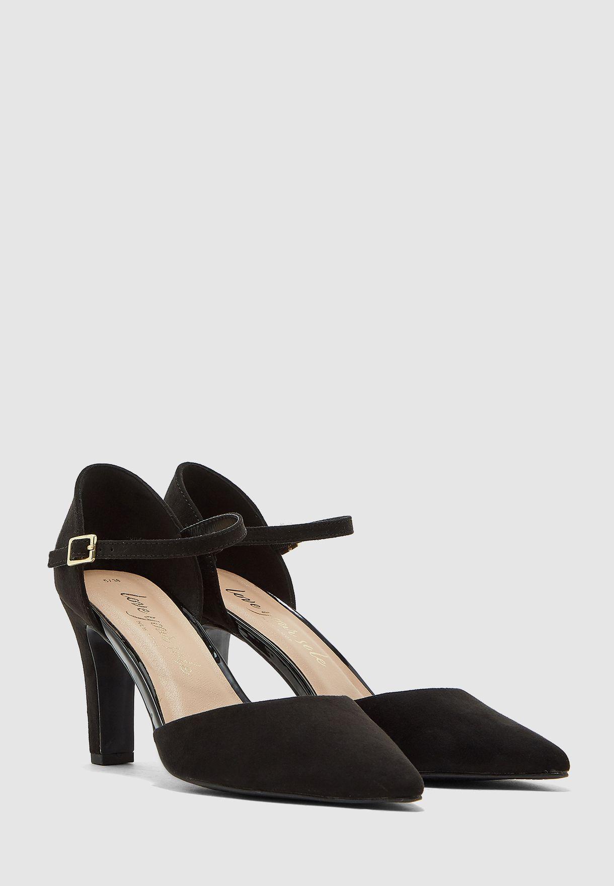 Buckle Detail Ankle Strap Pump - Black