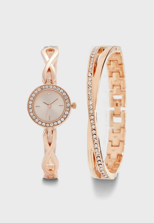 Watch & Bangle Gift Set With Diamante Detail