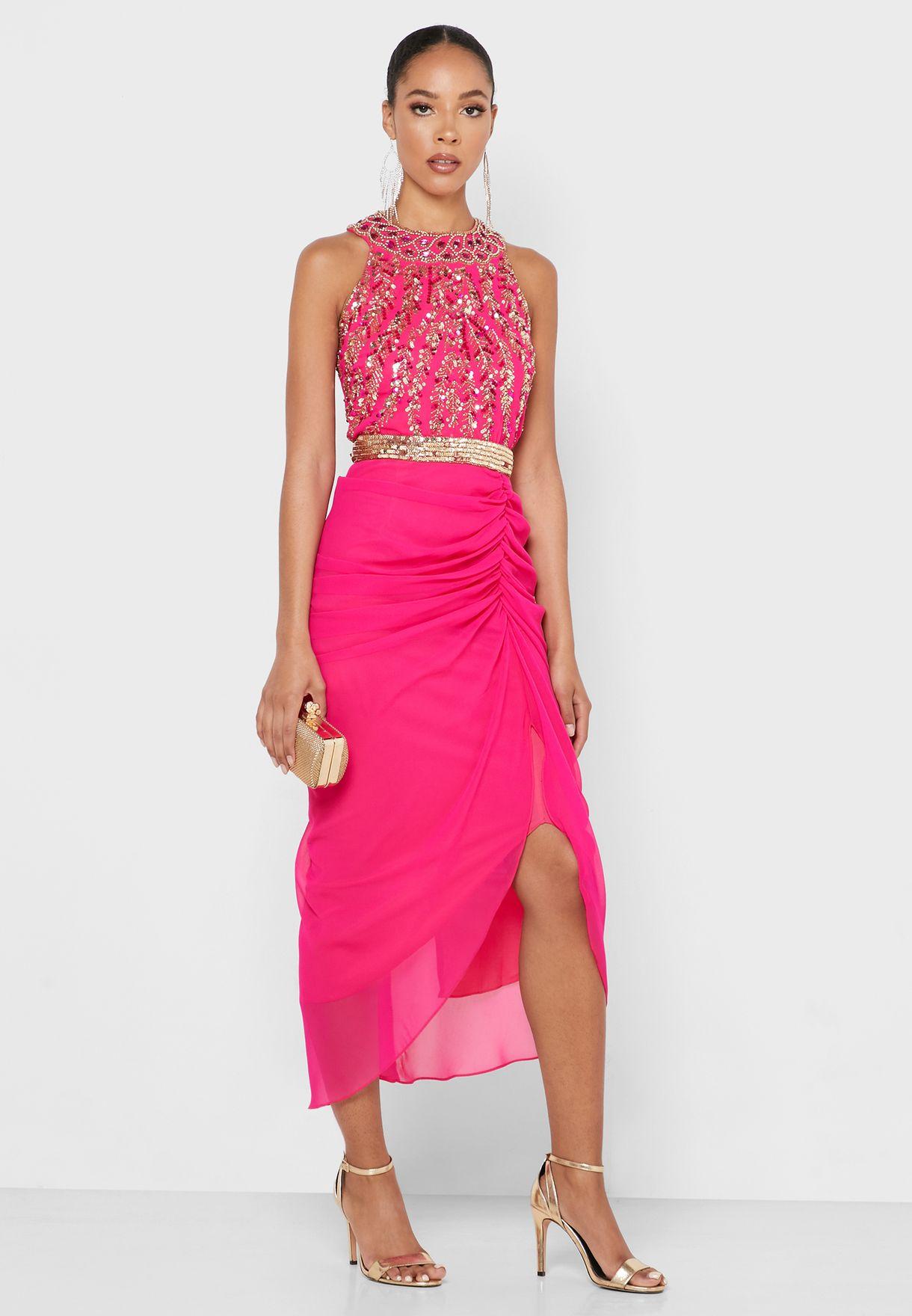 Halter Neck Front Split Ruched Detail Dress