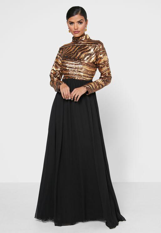 High Neck Sequin Yoke Dress
