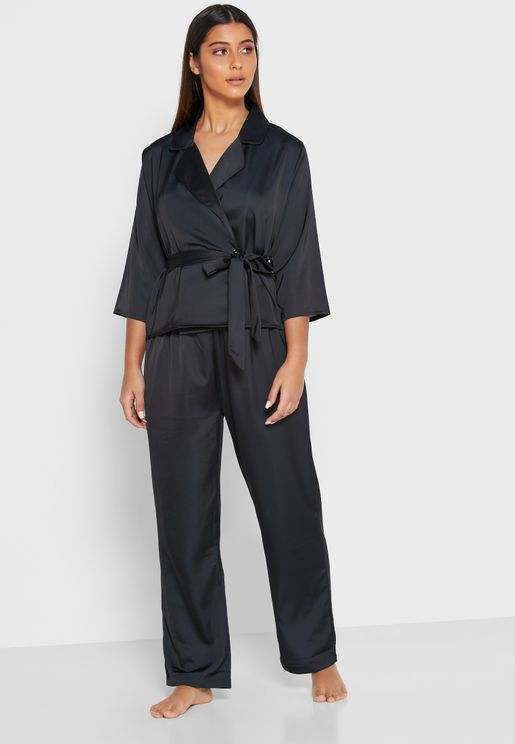 Printed Wrap Front Pyjama Set