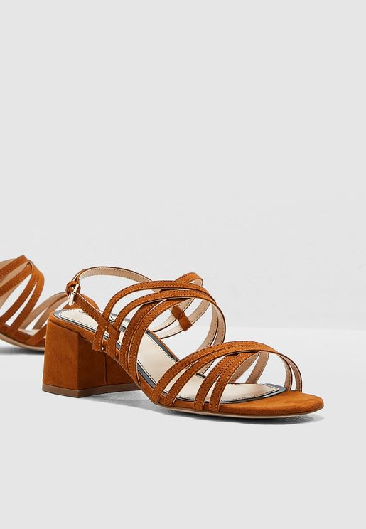 Sara Multi Strap Low Heel Sandal - Brown