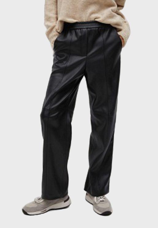 Seam Detail Straight Pu Pants
