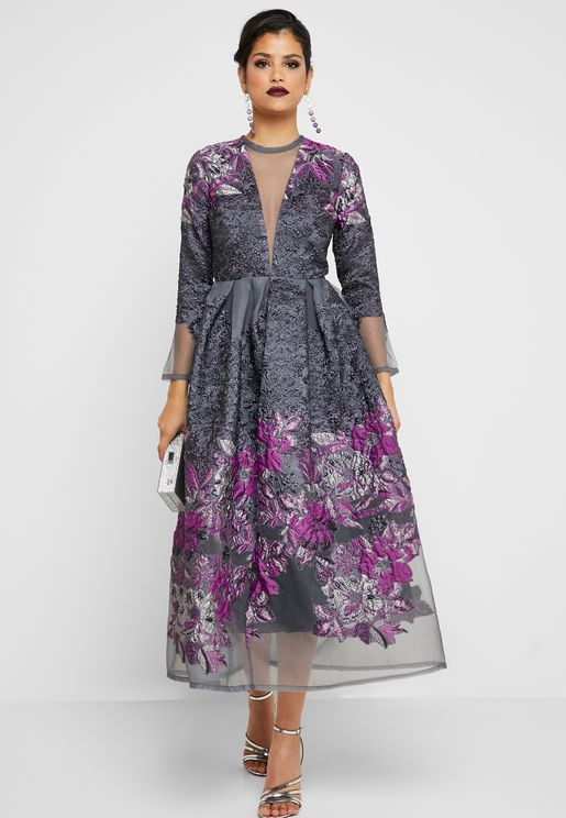Plunge Illusion Floral Embossed Dress