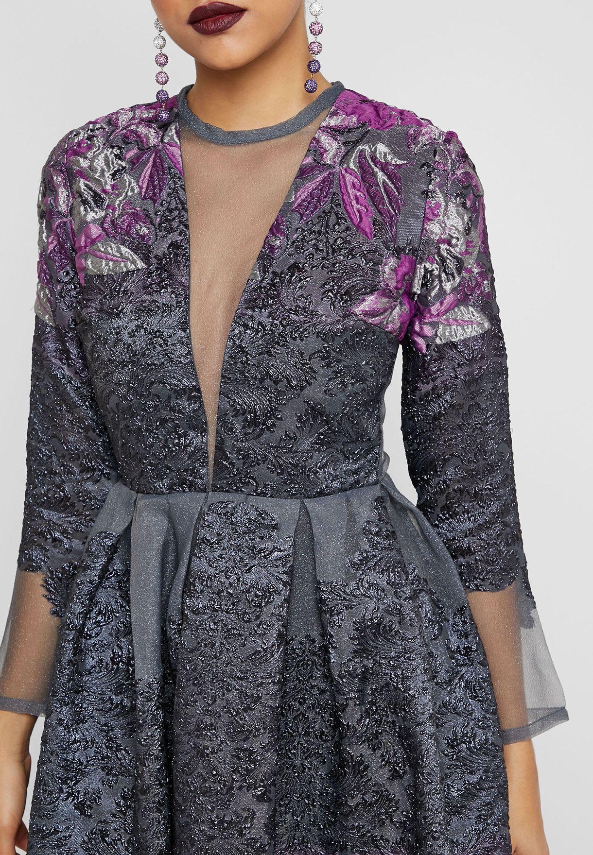 Plunge Illusion Floral Embossed Dress