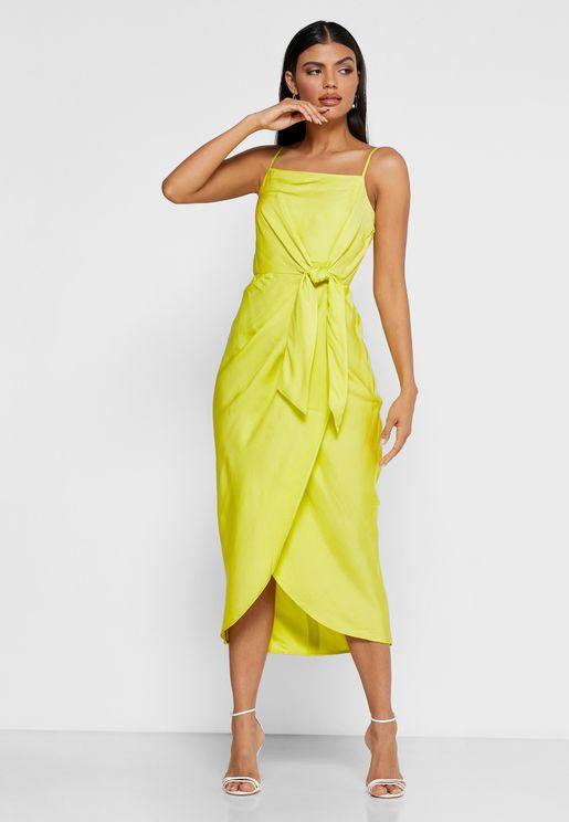 فستان ميدي مزين بعقدة