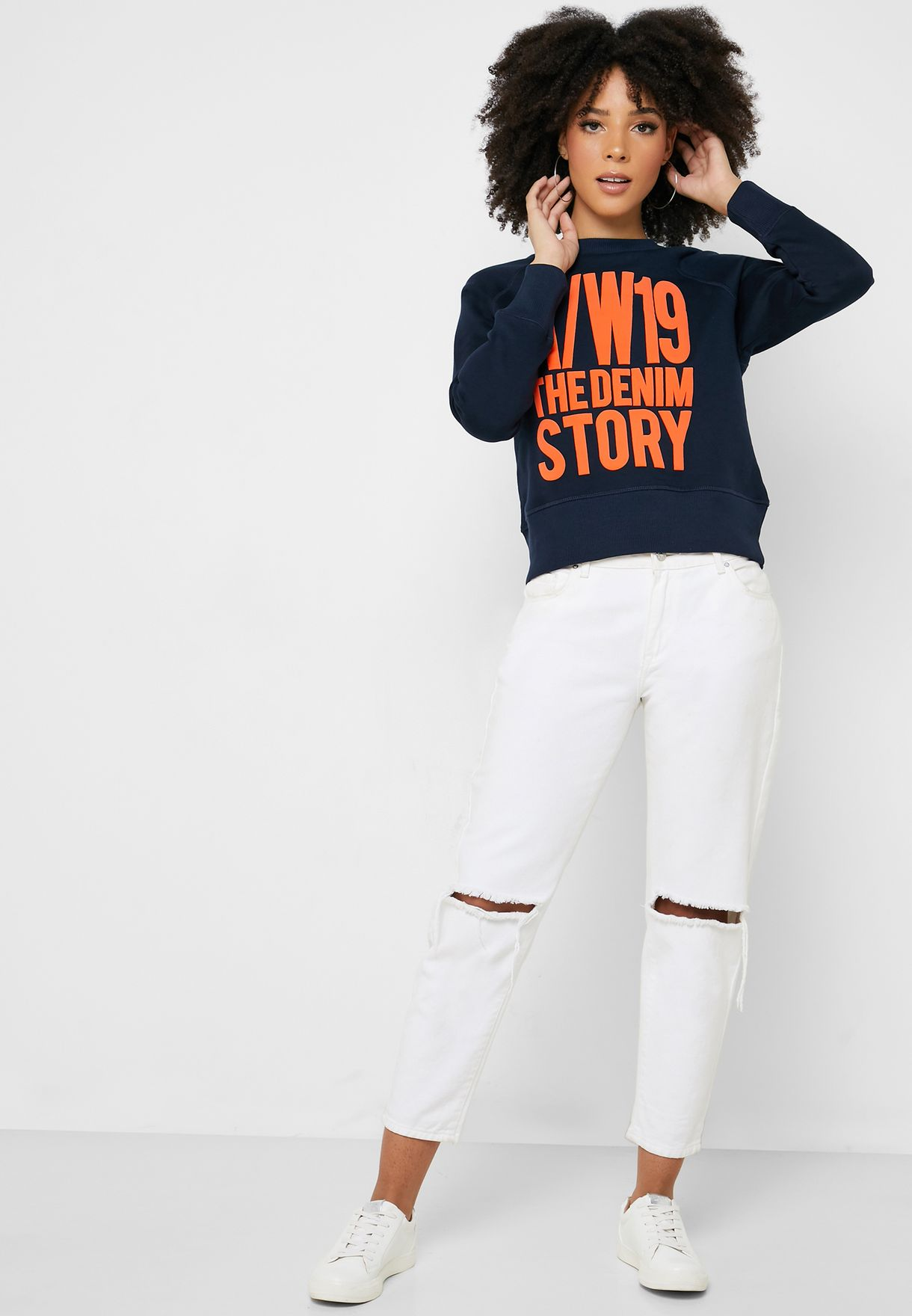 Embossed Slogan Sweatshirt