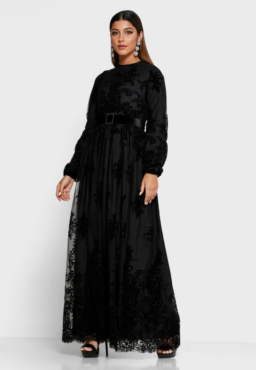 Lace Mesh Overlay Belted Maxi Dress
