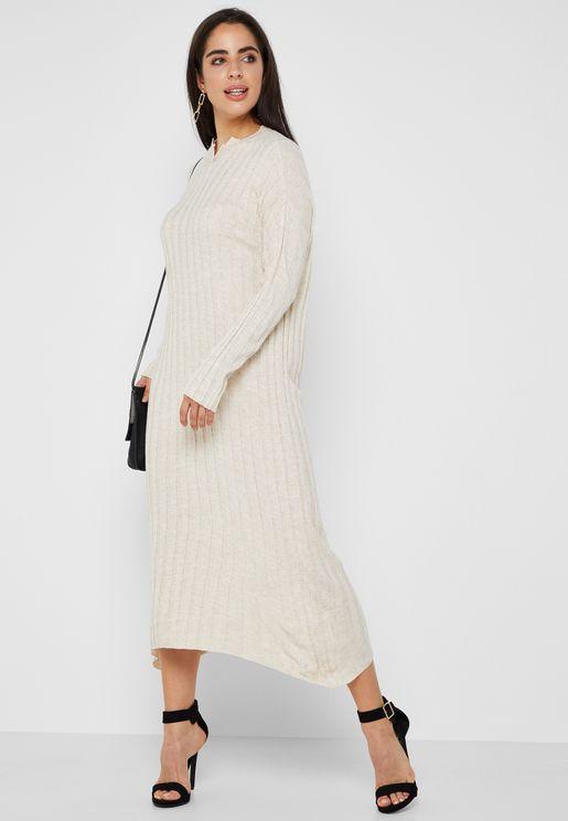 Ribbed Midi Dress