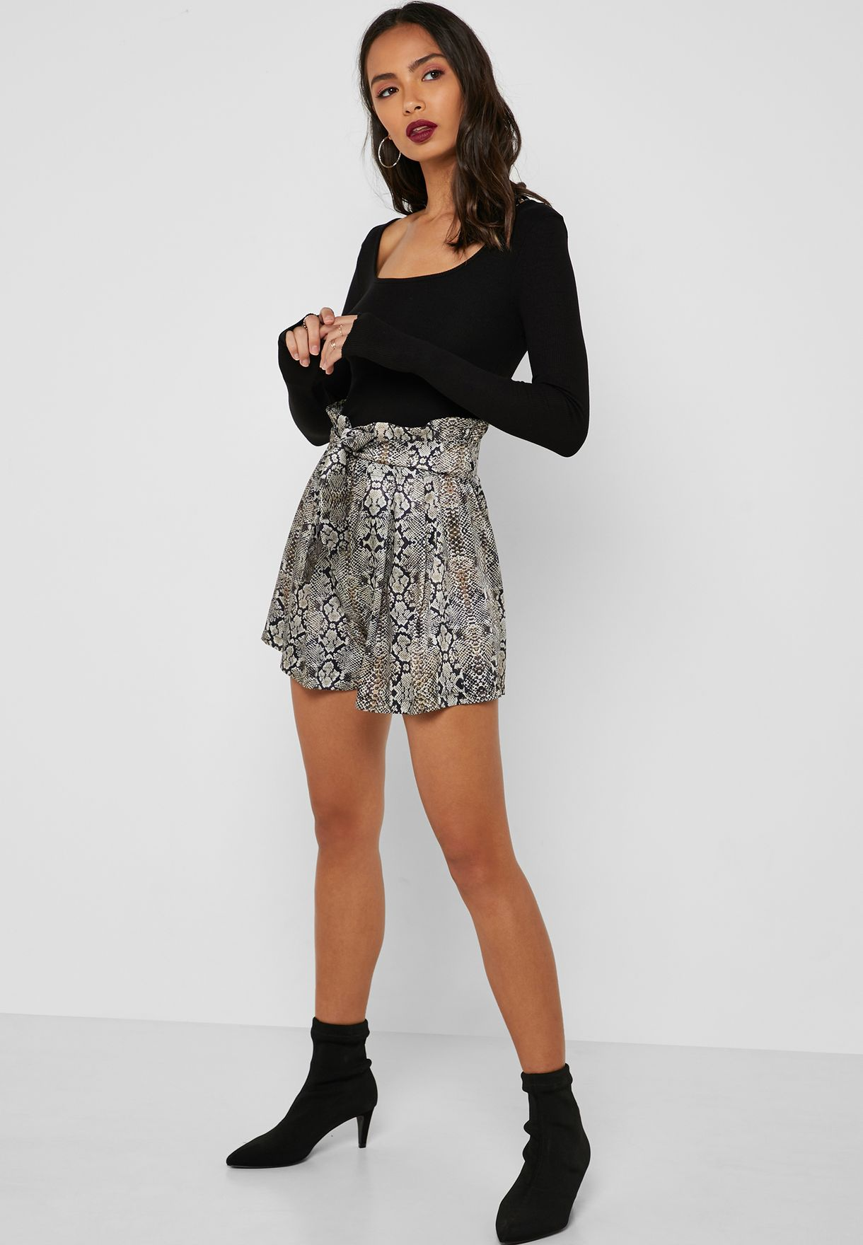 Snake Print Self Tie Shorts