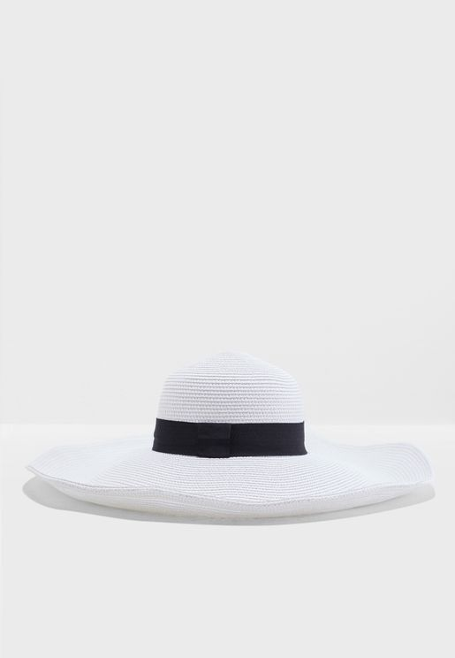 Oversized Wide Brim Hat With Contrast Band f6c91b02216f