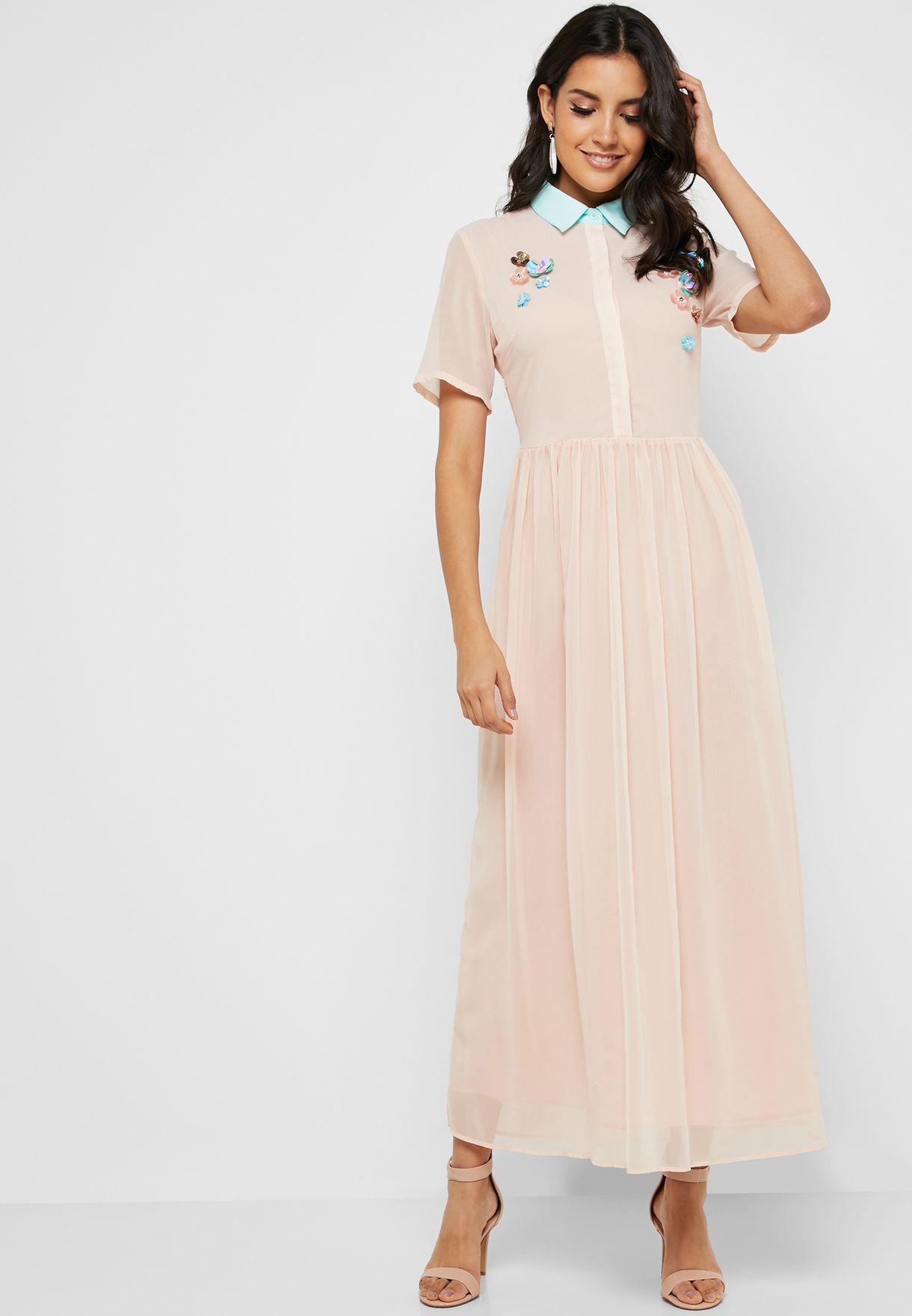 Floral Applique Collared Dress