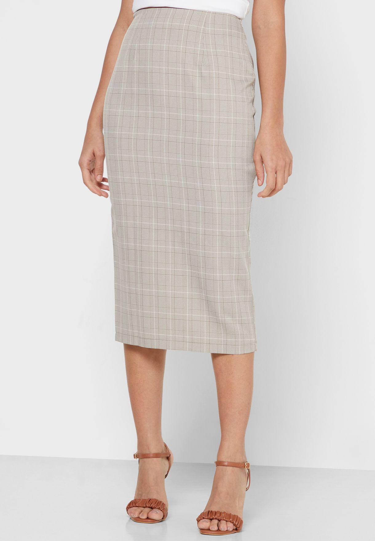Checked Peplum Blazer Midi Skirt Set
