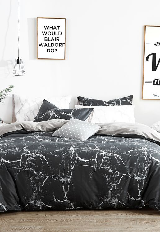 Marble Print Bedding Set - King 200 x 230cm