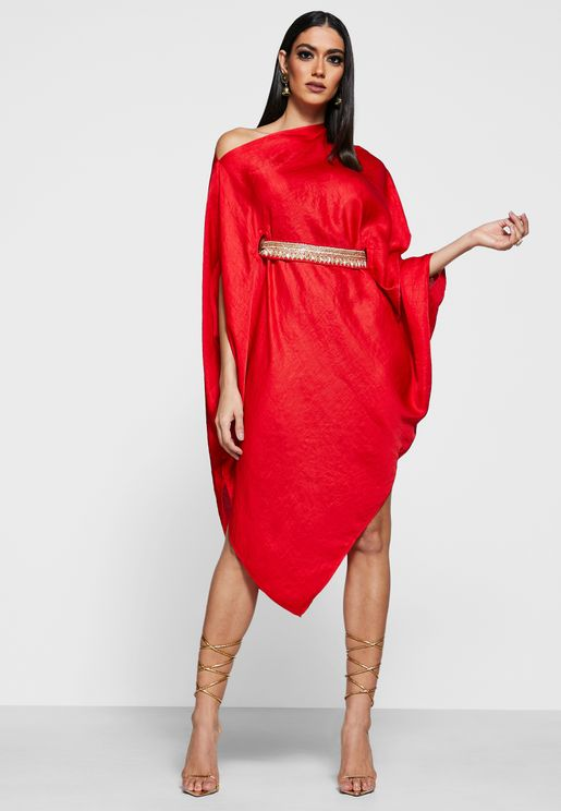 One Shoulder Belted Asymmetric Dress