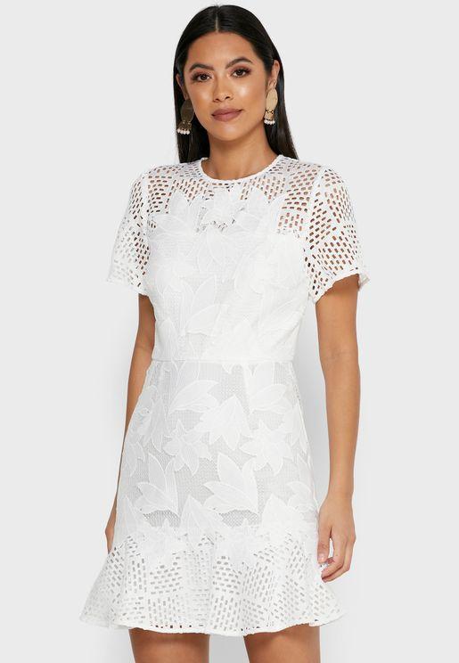 Damara Sheer Detail Lace Dress