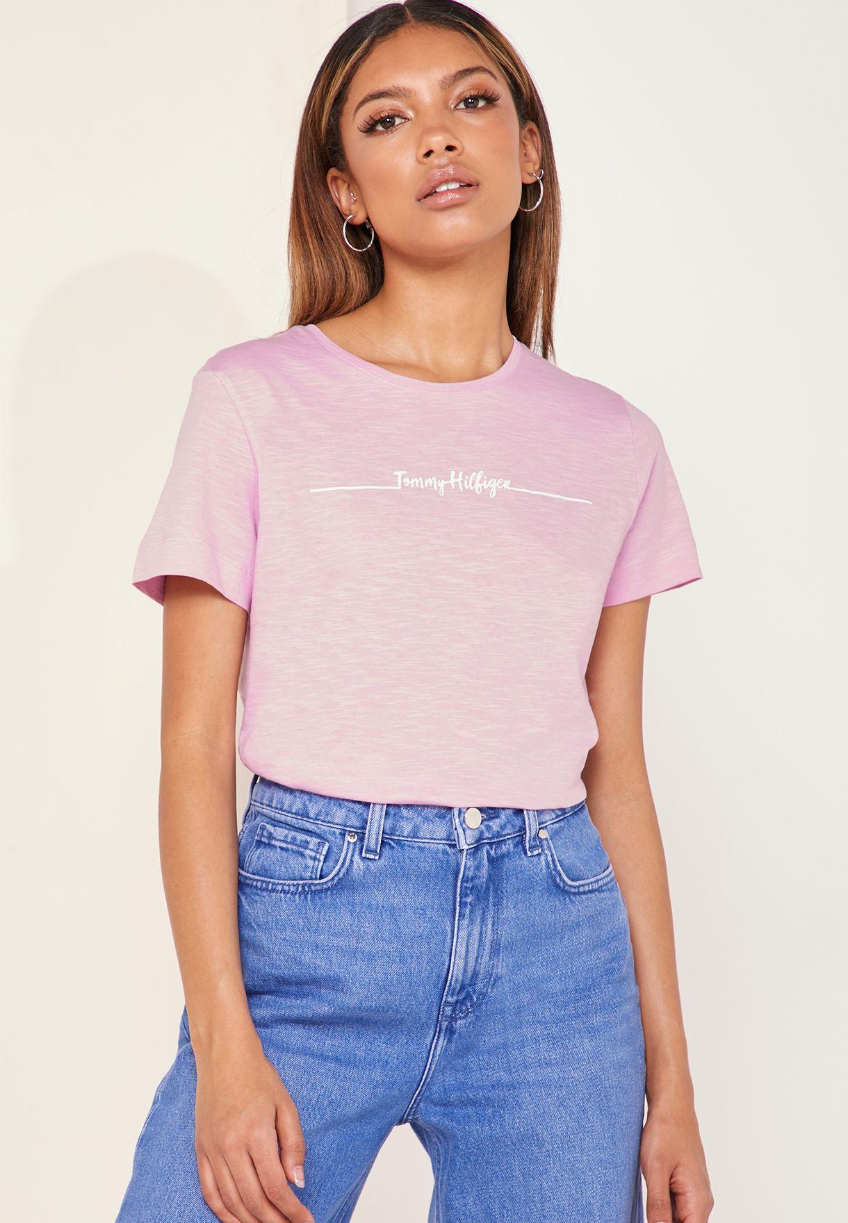 fe052b8c Shop Tommy Hilfiger pink Elissa Logo T-Shirt WW0WW24721 for Women in ...