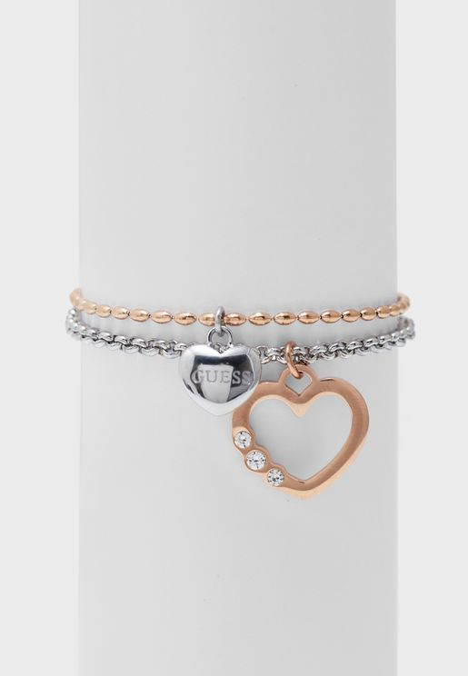 Double Chain Rose Heart Bracelet