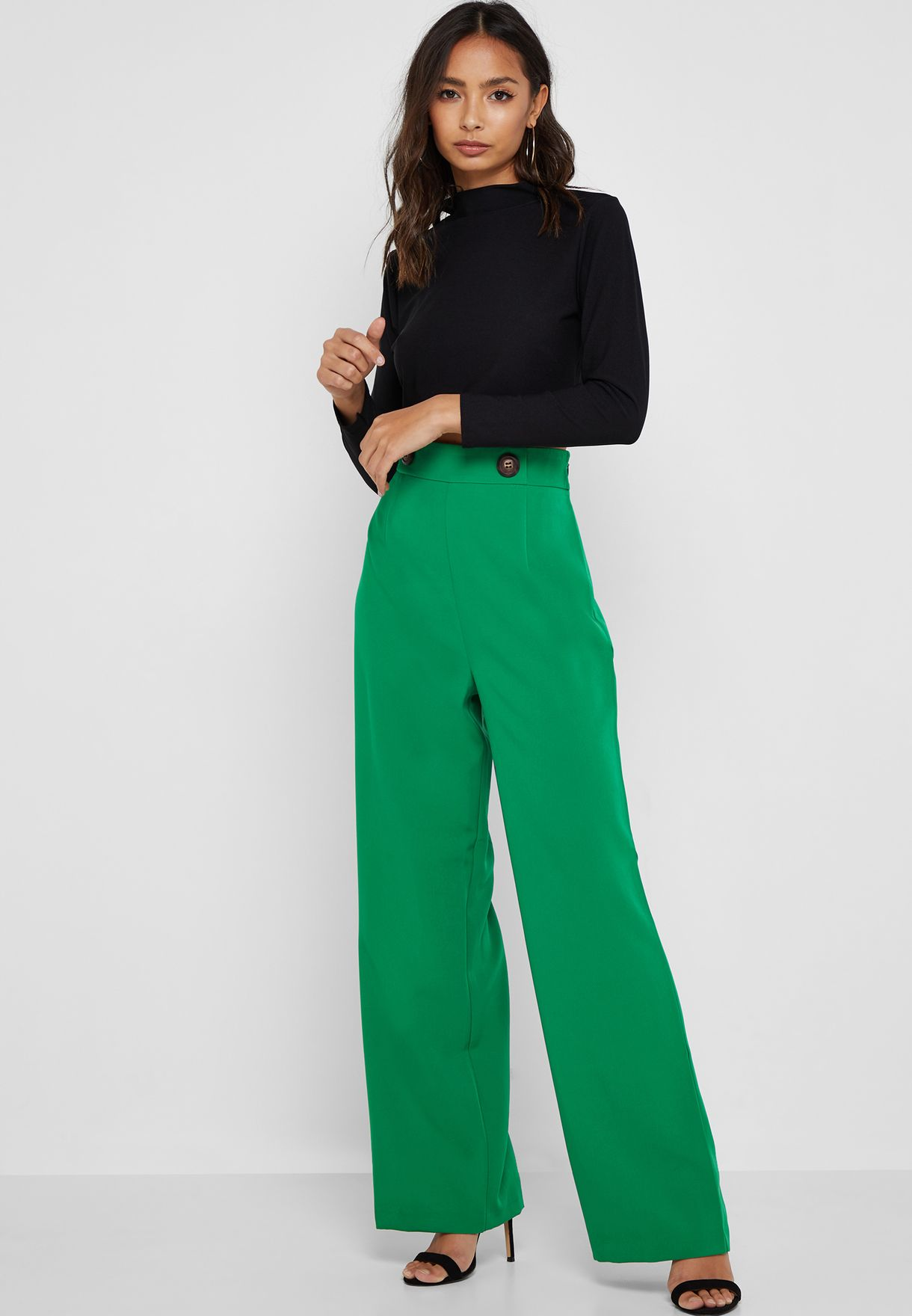Button Detail High Waist Wide Leg Pants