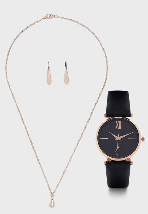 PU Strap Watch And 2 Piece Jewellery Set