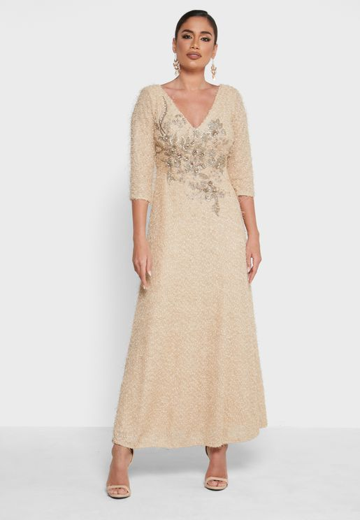 V-Neck Embroidered Maxi Dress