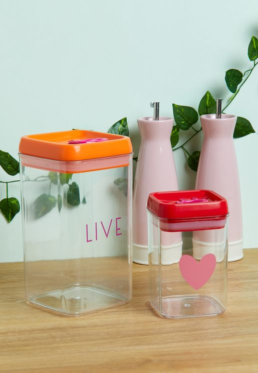 Set Of 2 Airtight Food Storage Containers