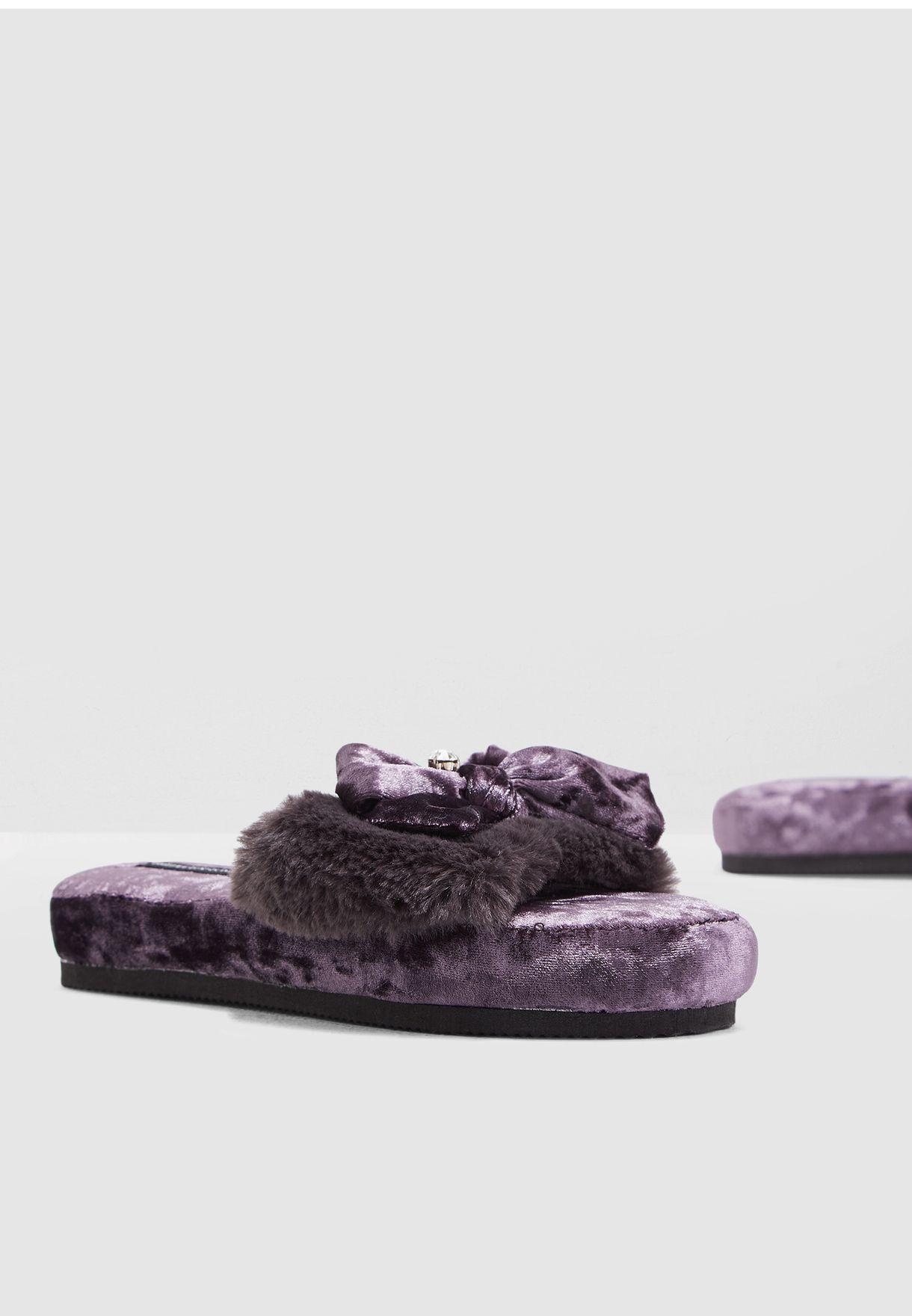 a0588053c226 Shop Pretty You London purple Faux-Fur Slide ALEXA for Women in UAE ...