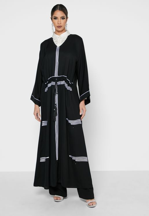 Contrast Pipping Detail Abaya
