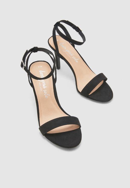 Ankle Strap High Heel Sandal - black