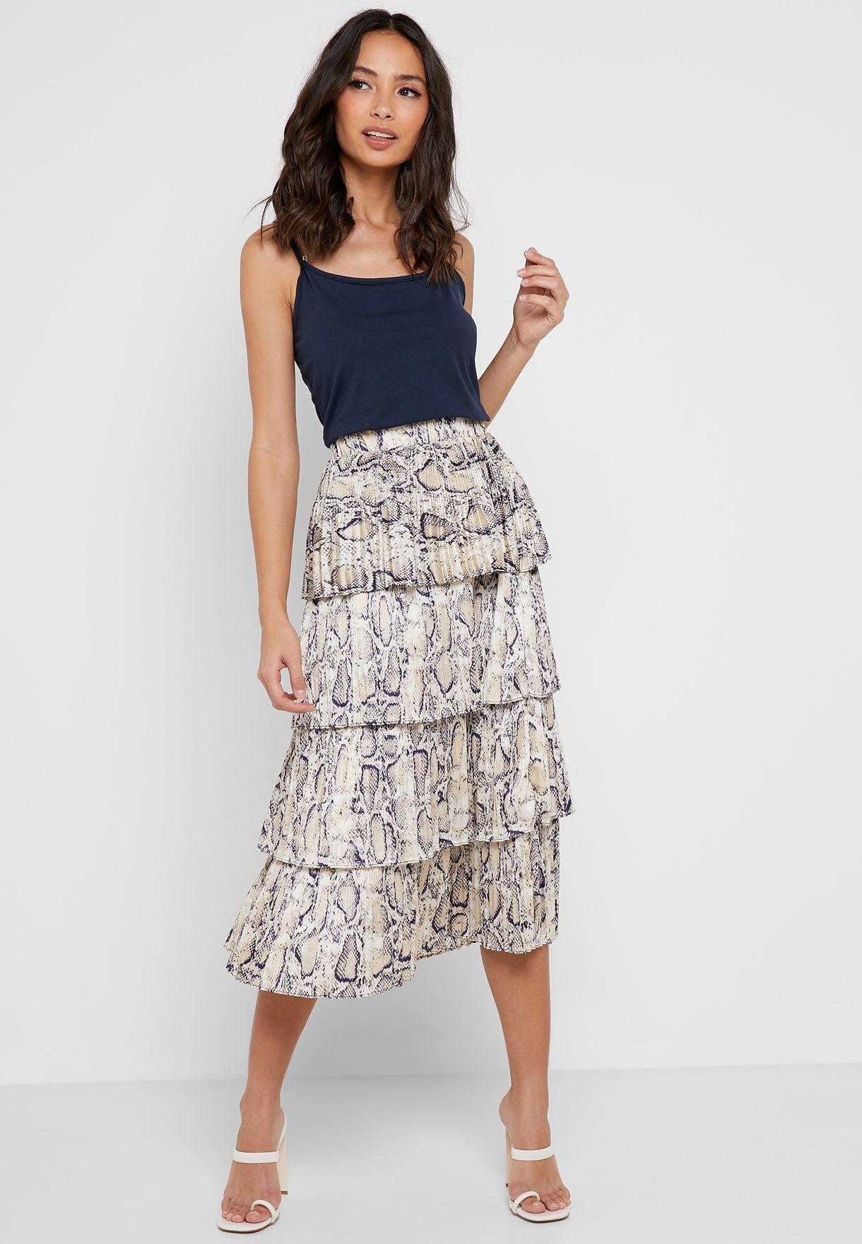 Snake Print Tiered Midi Skirt