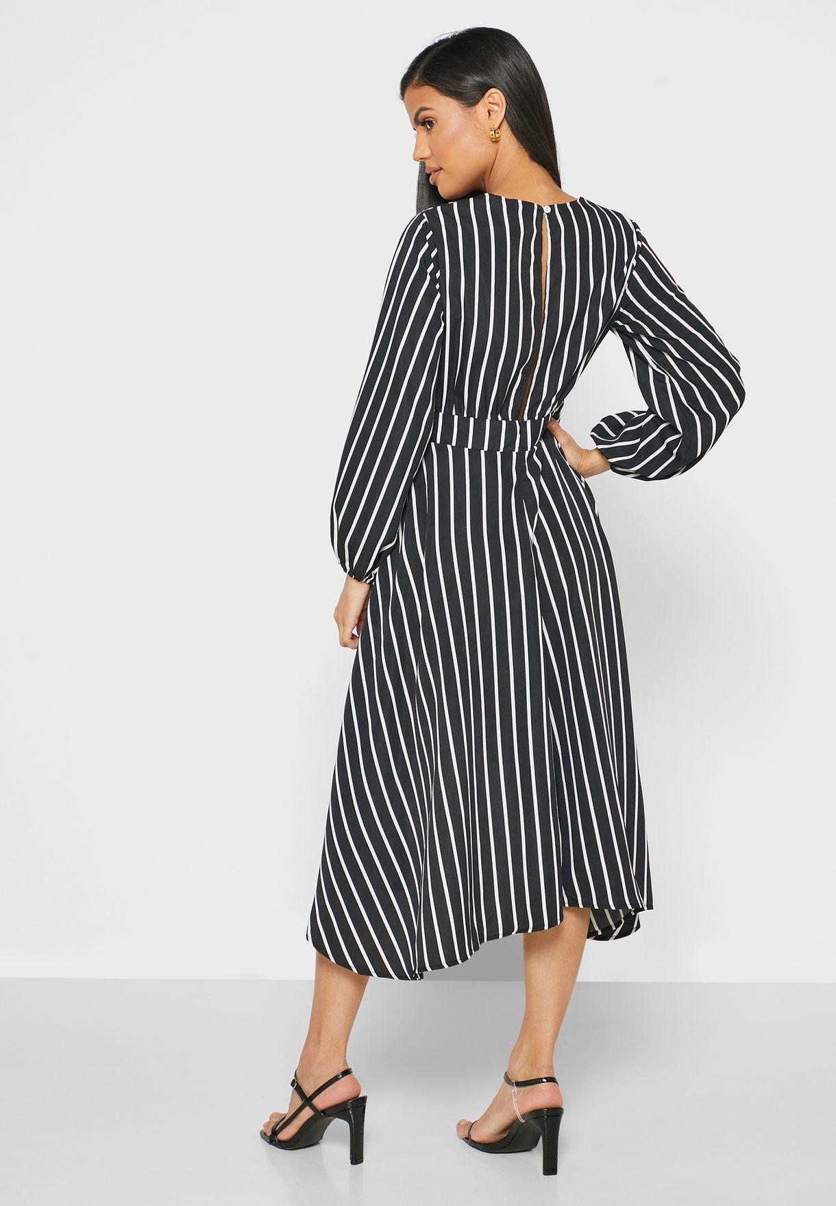 Striped Keyhole Front Mini Dress