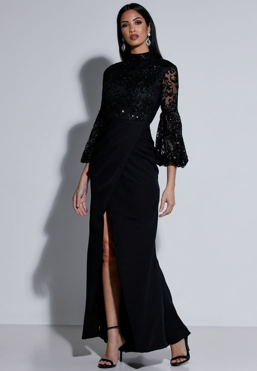 Embellished Top Wrap Front Maxi Dress