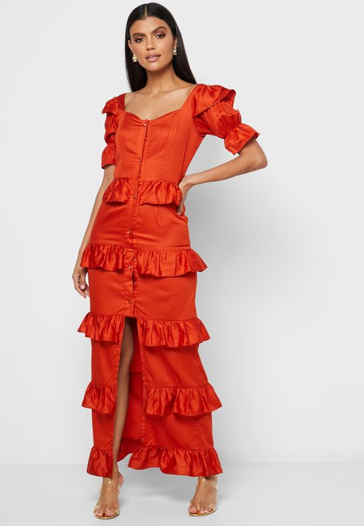 Ruffle Trim Puff Sleeve Dress