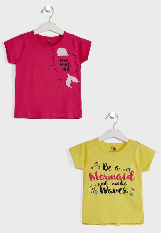 2 In 1 Printed Slogan T-Shirts