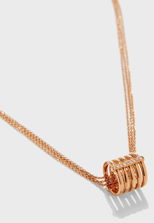 Studded Ring Pendant Necklace