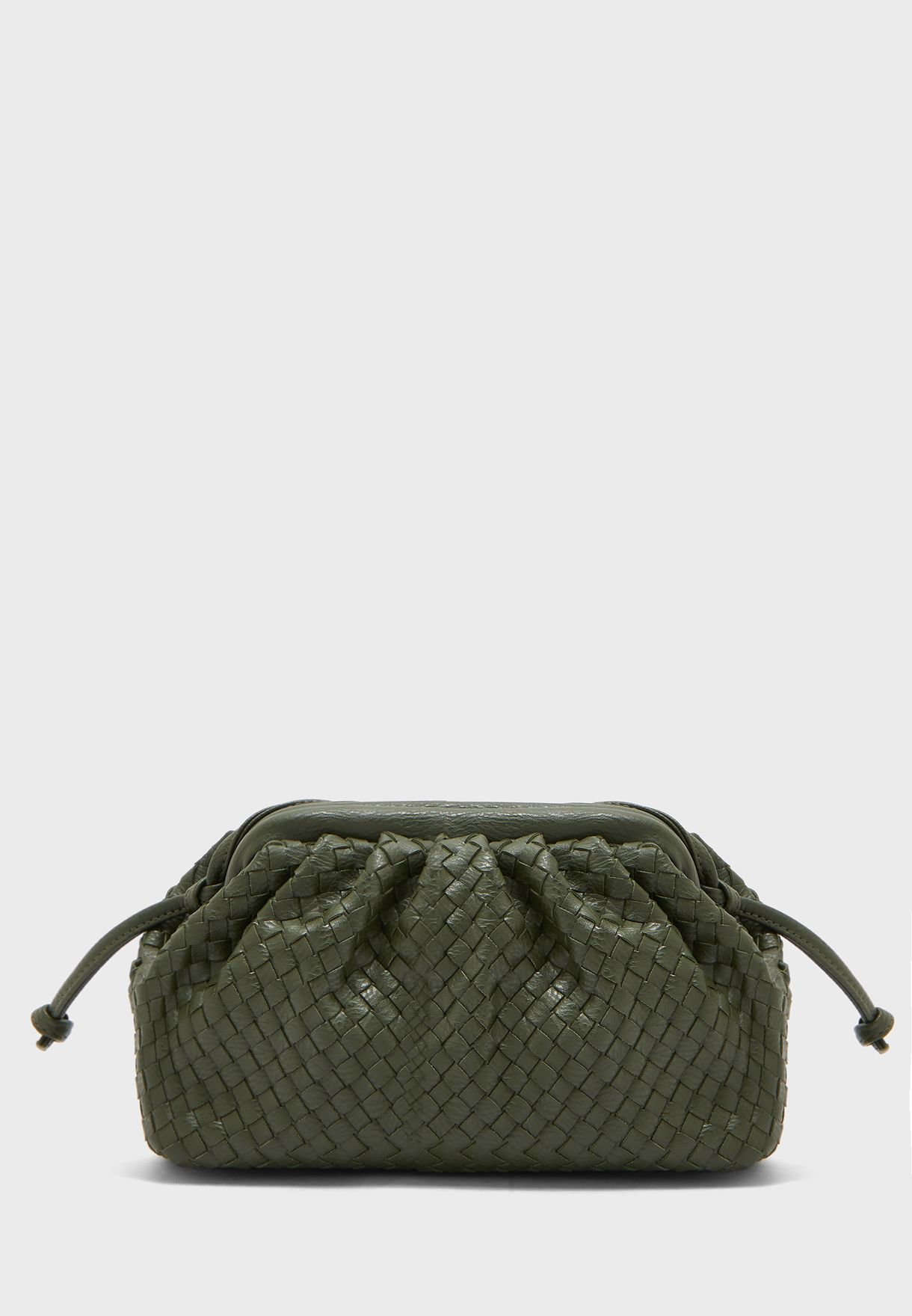 Weave Pouch Bag with Crossbody Strap
