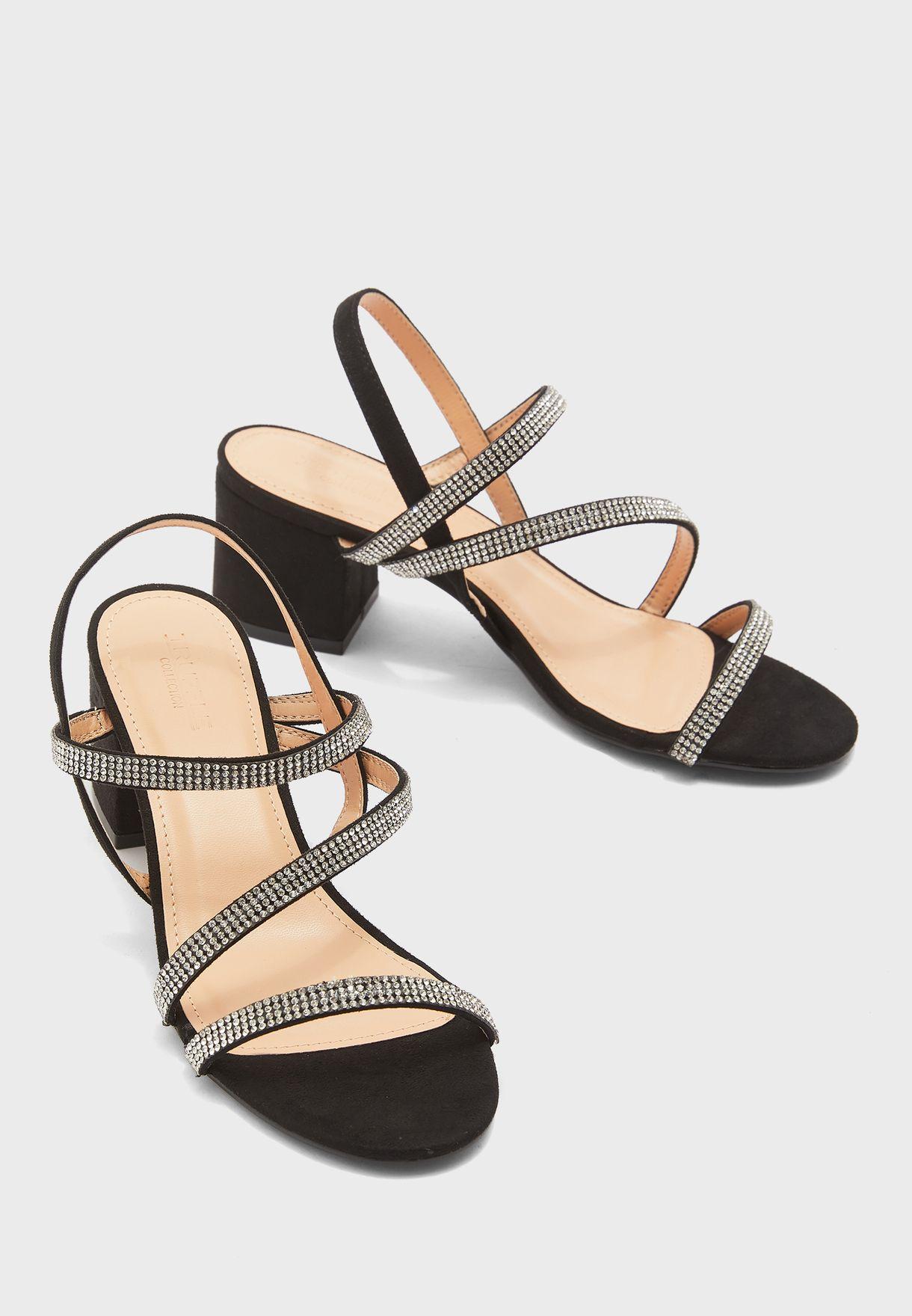 Diamante Block Heel Sandals