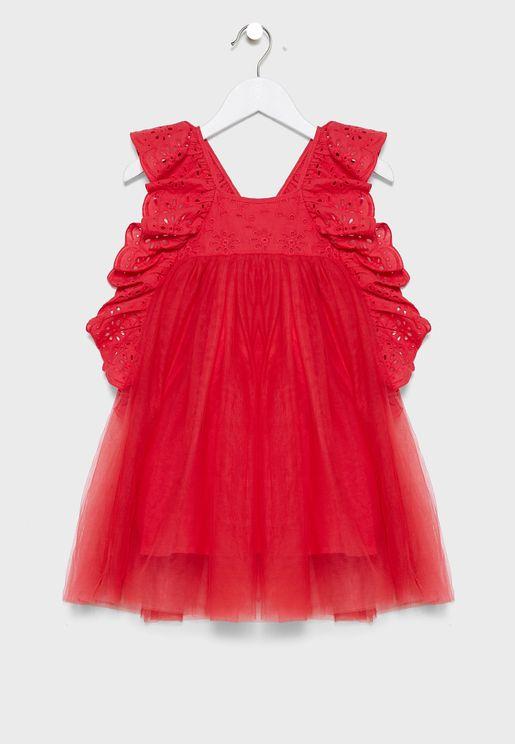 فستان مكشكش بياقة مربعة