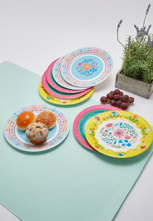 Boho Floral Party Plates 12 Pack