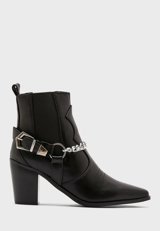 Western Boot With Chain Detail