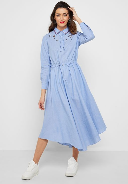 Eyelet Detail Shirt Dress