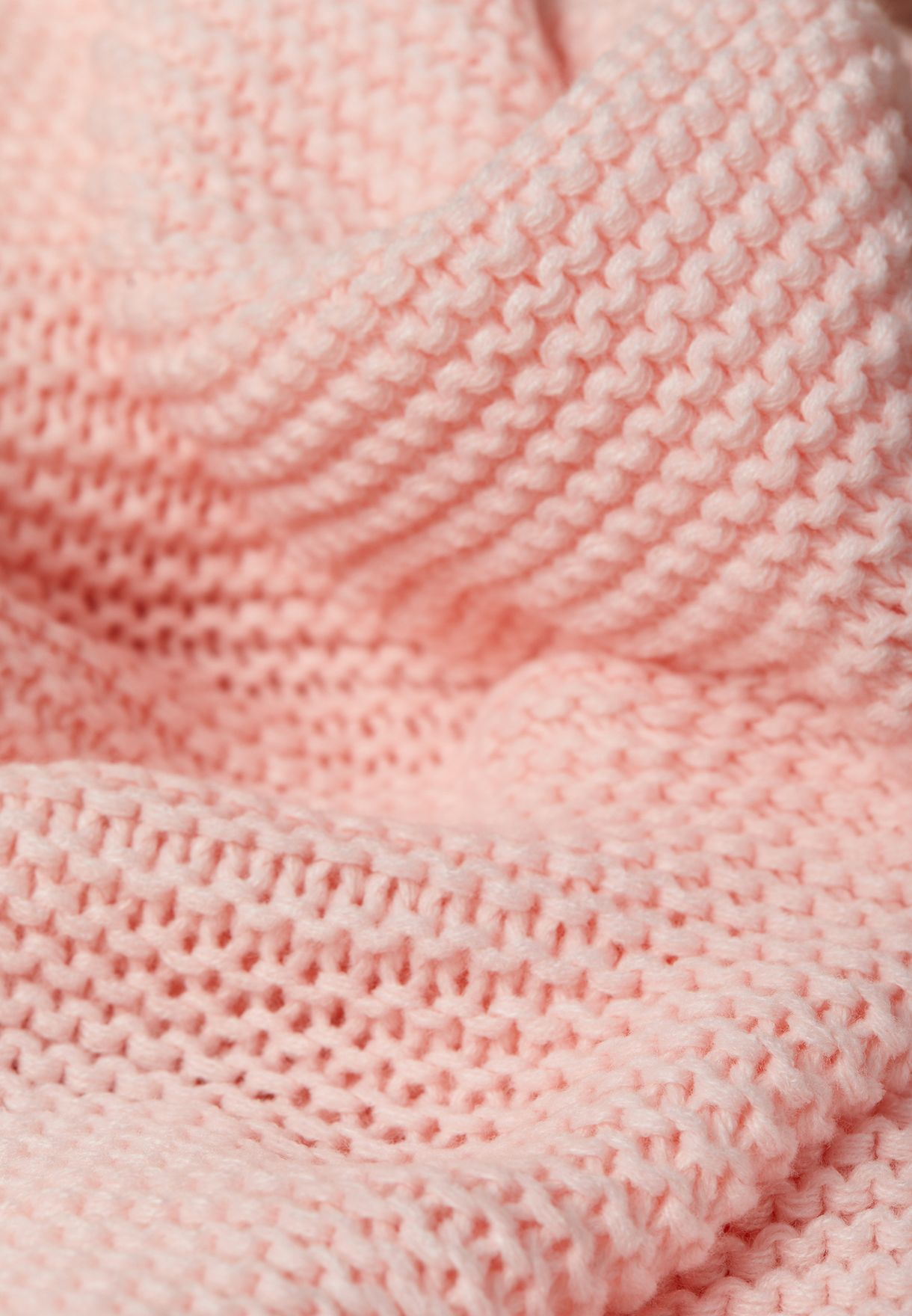 Pink Knitted Blanket with Tassels 120cm x 170cm