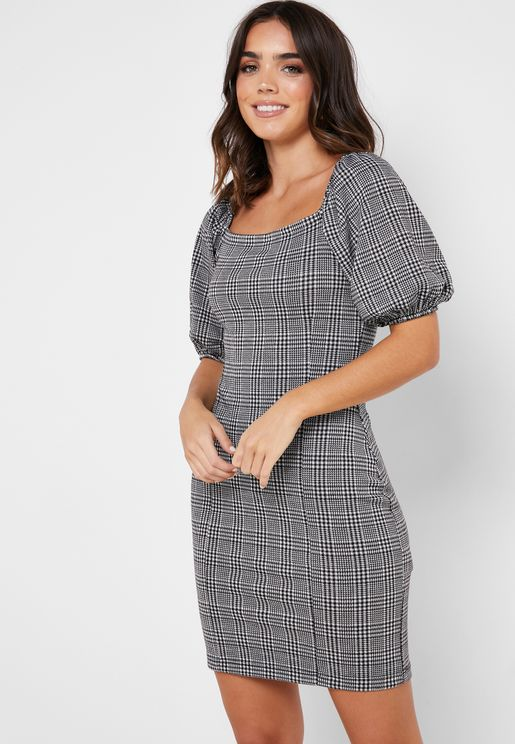 Puffed Sleeve Checked Dress