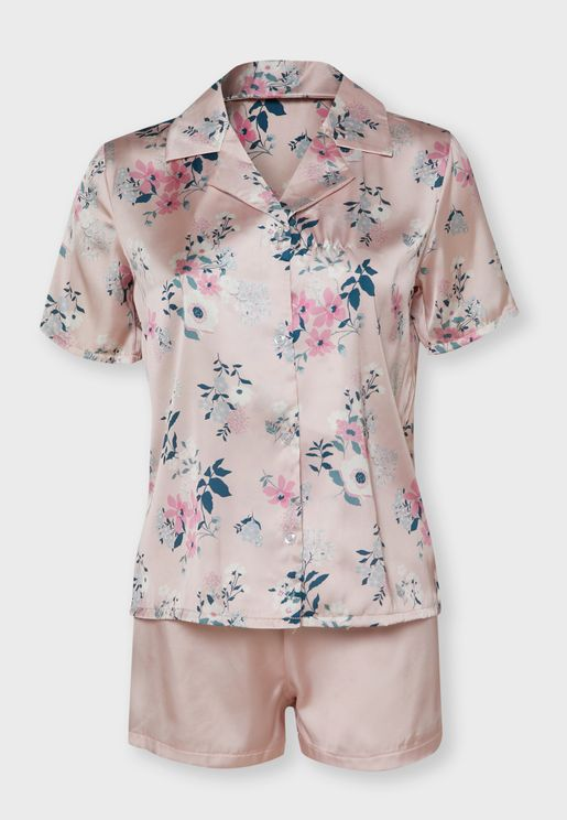 Floral Print Shirt Pyjama Shorts Set